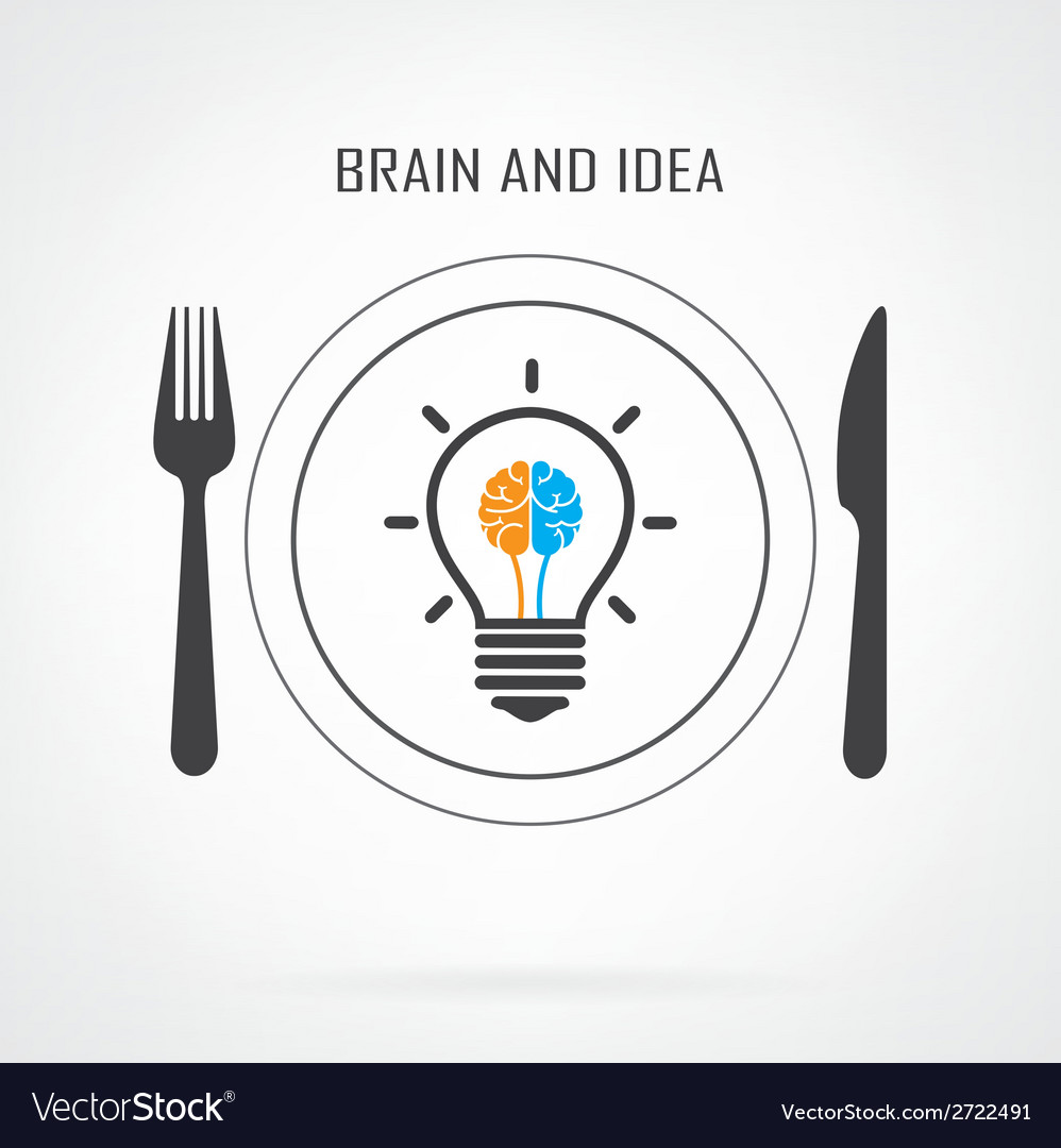 Creative light bulb idea and brain concept backgro vector image