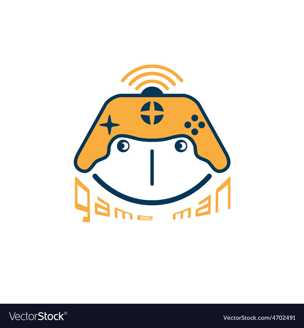 Game Man Concept With Game Pad Design Template Vector Image - Game concept template