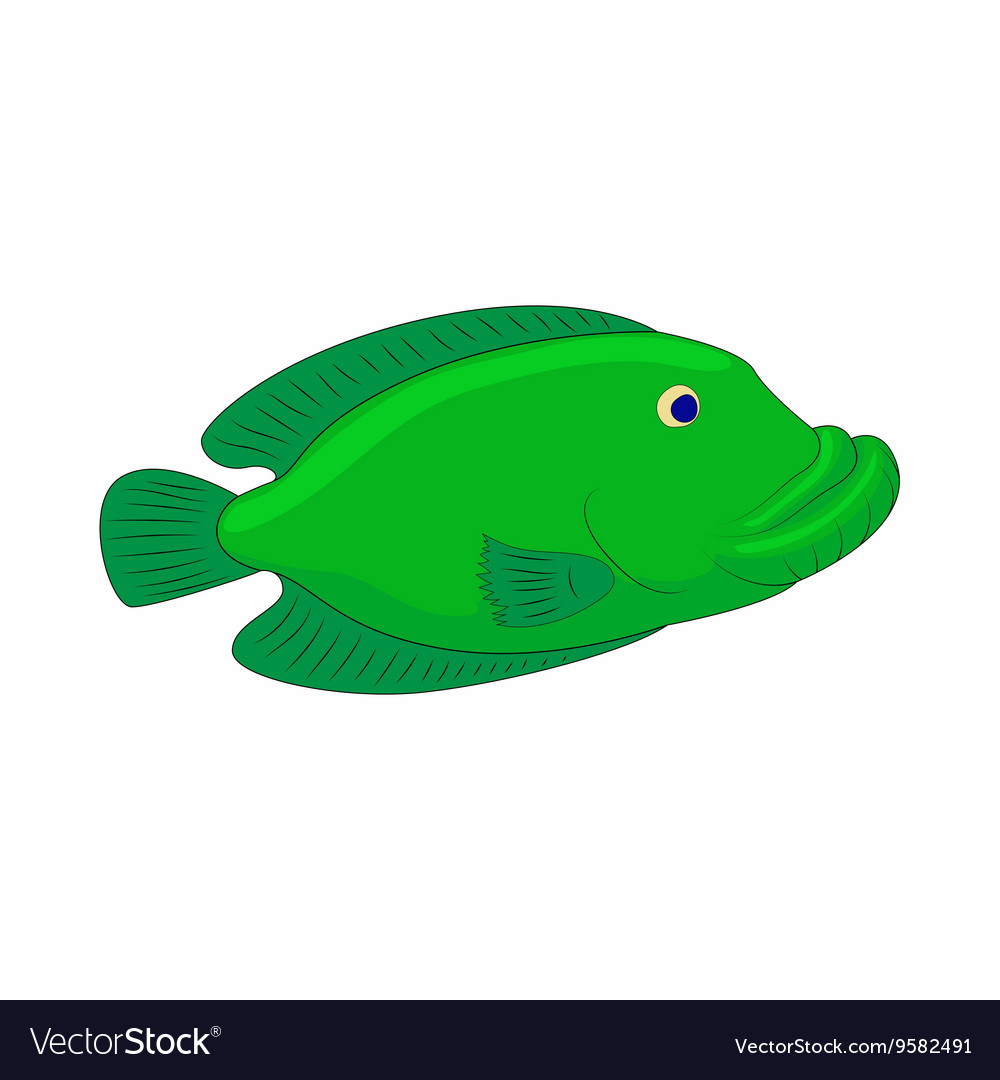 Green fish icon in cartoon style Royalty Free Vector Image