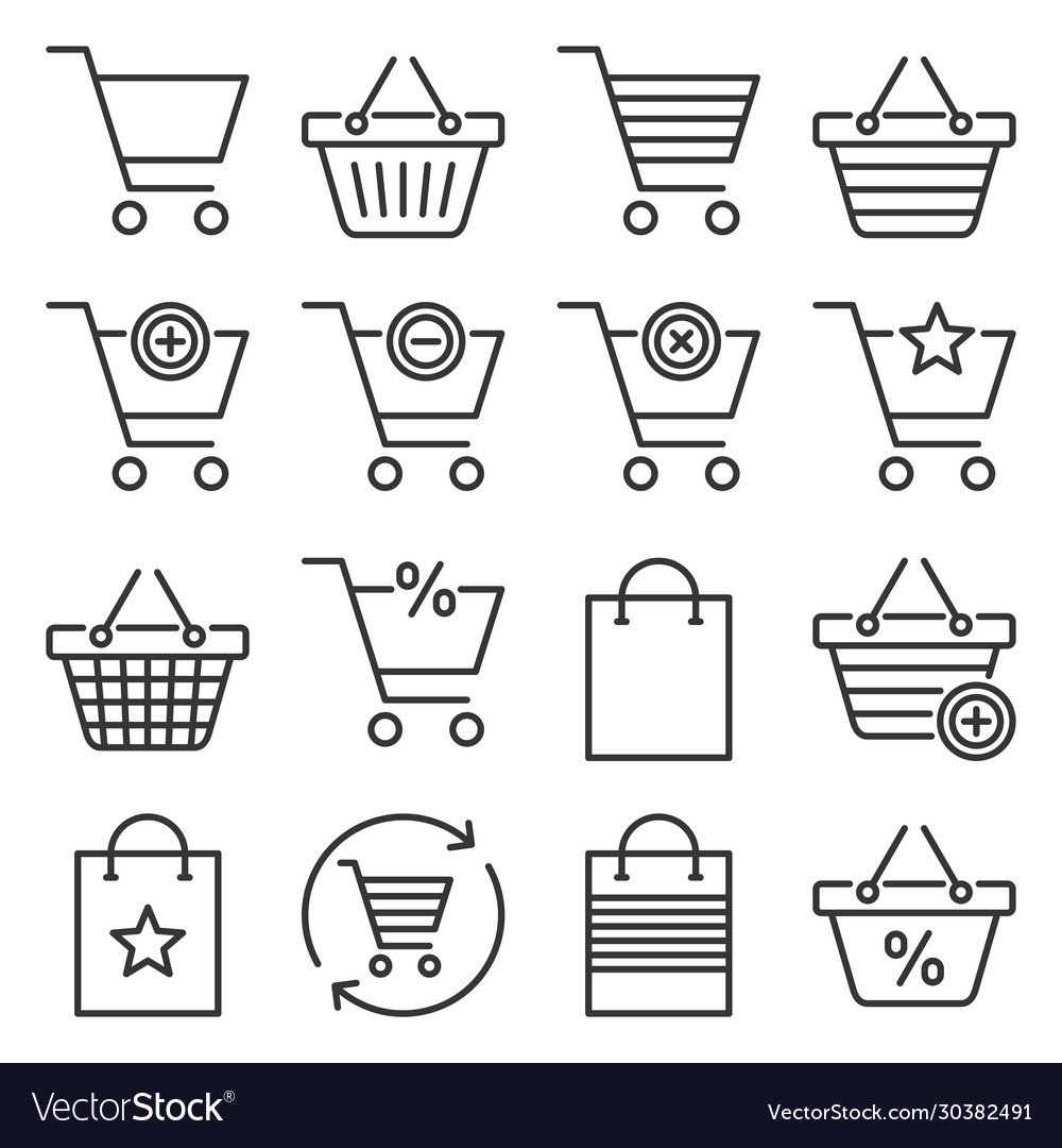 Shopping cart and bags icons set on white