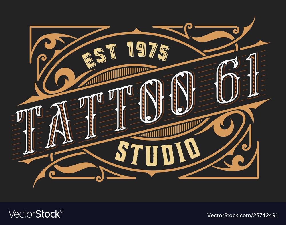Tattoo logo template old lettering on dark