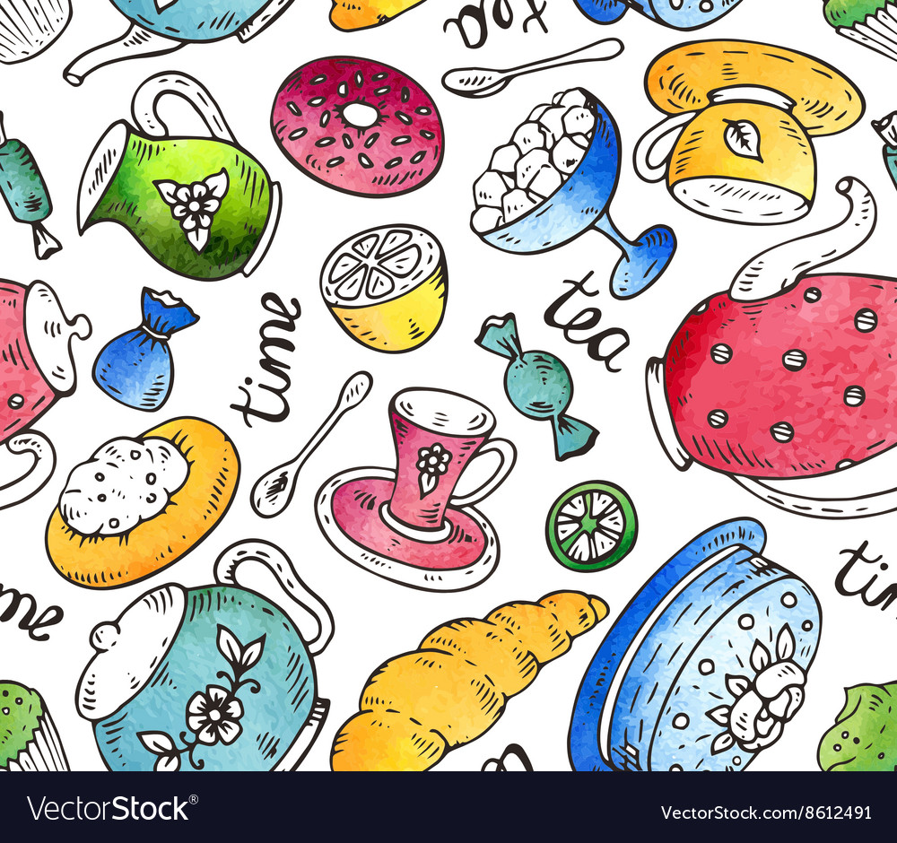 Tea time seamless pattern with doodle elements and vector image