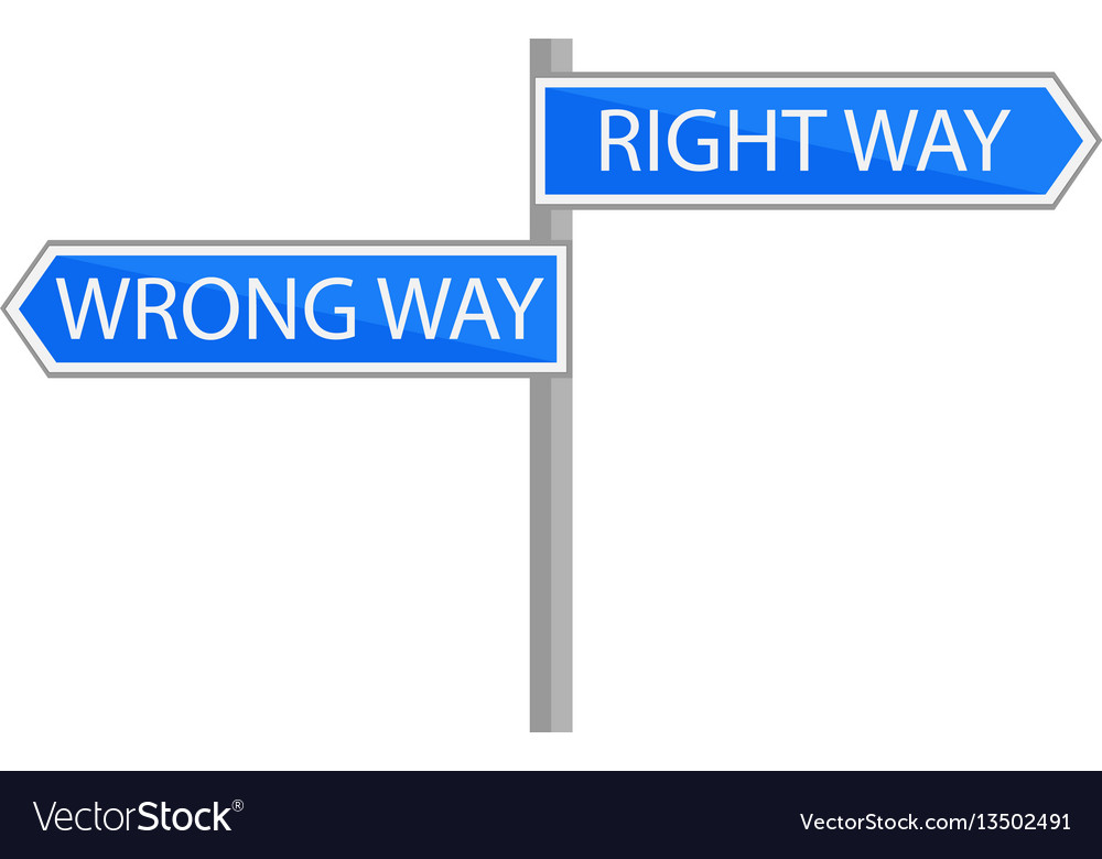 Traffic sign choice of path vector image