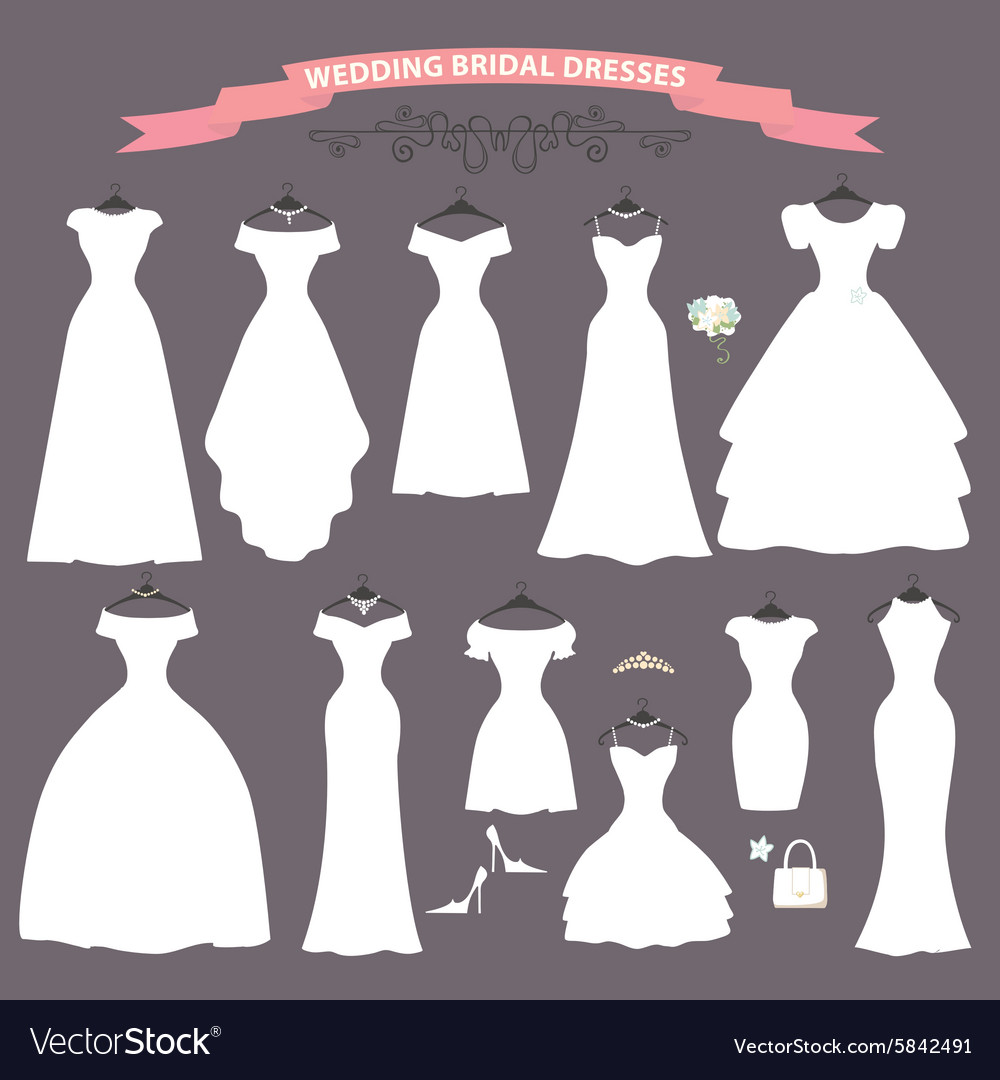 Wedding dress setFlat designBridal shower