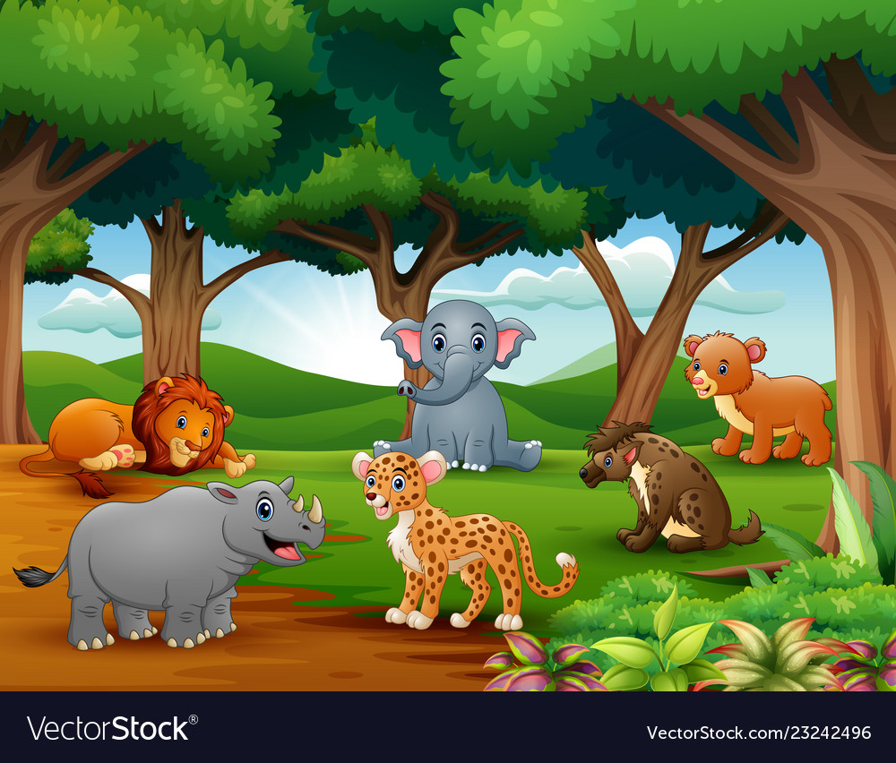 Animals Cartoon Are Enjoying Nature In The Jungle Vector Image