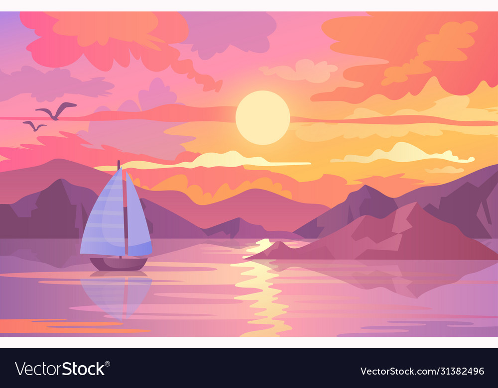 Colorful sunset scene with sailboat and birds