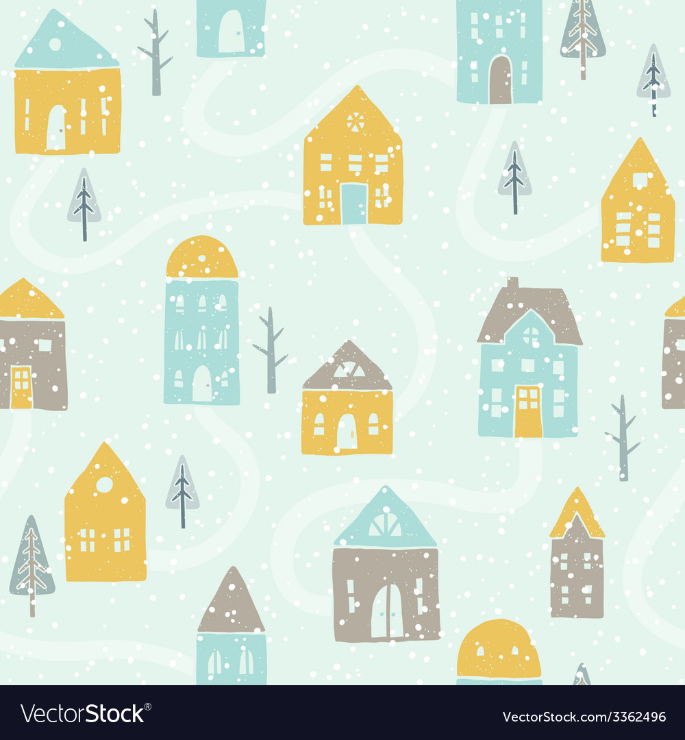 Cute winter snowfall houses pattern