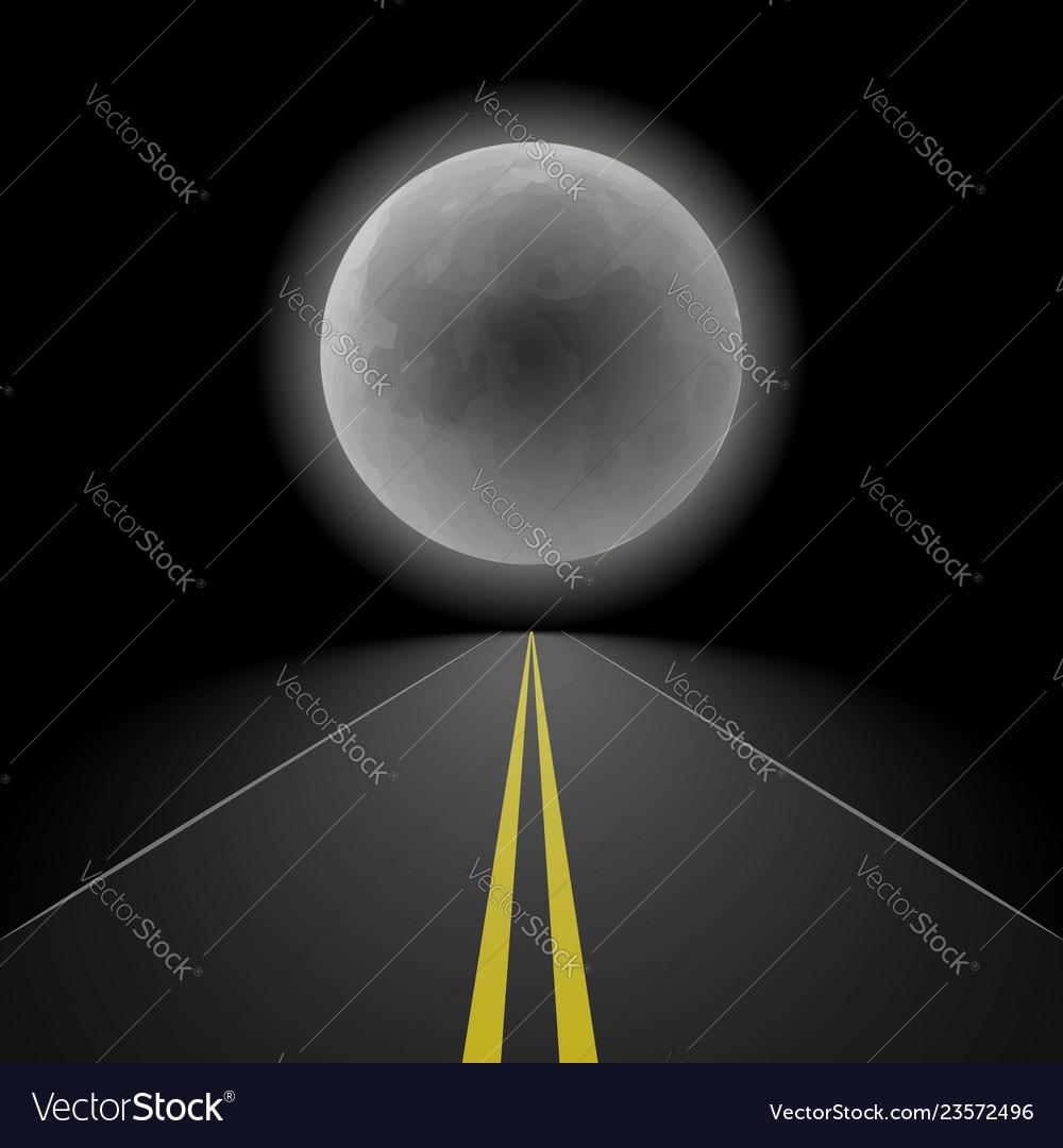 Empty straight night perspective asphalt road
