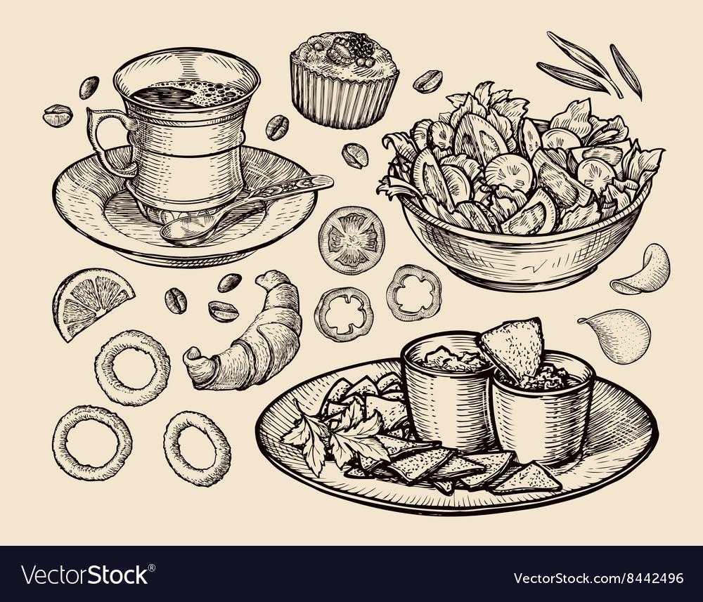 Fast food hand drawn cup coffee tea vegetable