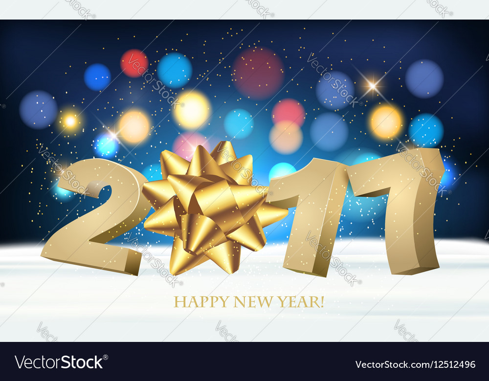 Happy new year 2017 holiday background with a gift vector
