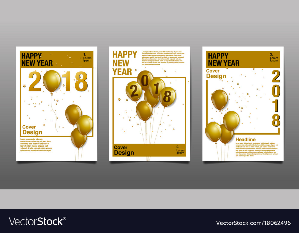 happy new year 2018 cover design template vector image