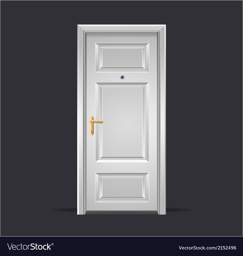 Interior apartment white door isolated on black