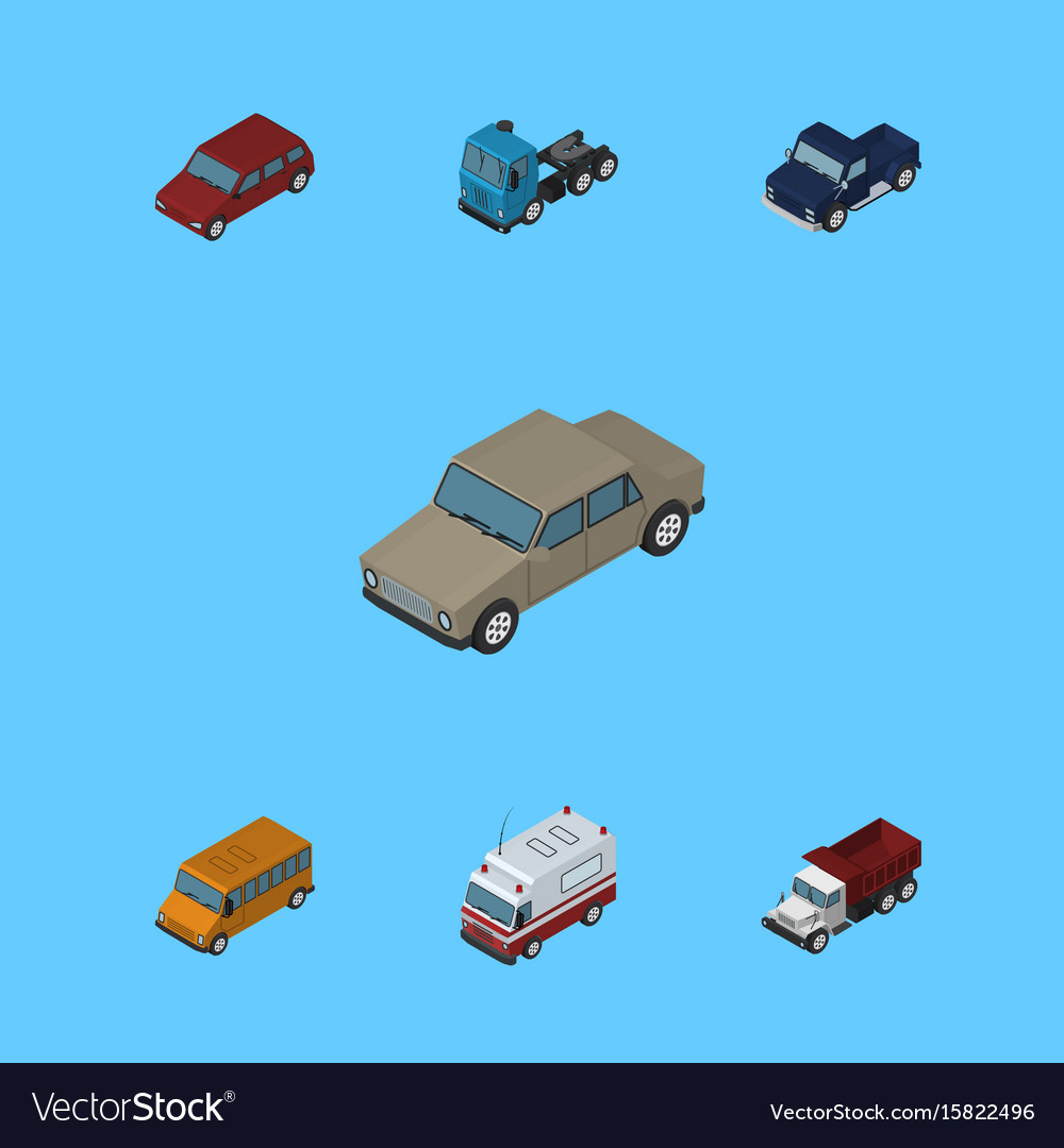 Isometric automobile set of suv autobus truck vector image