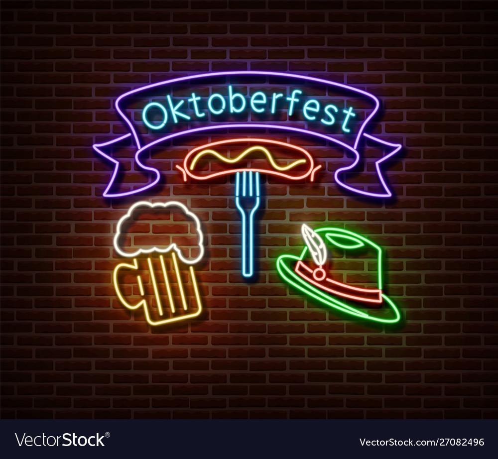Neon oktoberfest signs isolated on brick