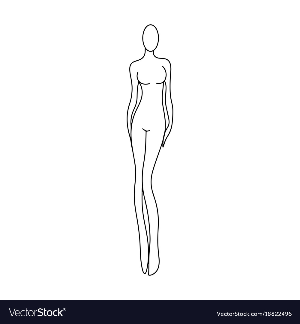 Outline girl model template for fashion women vector image maxwellsz