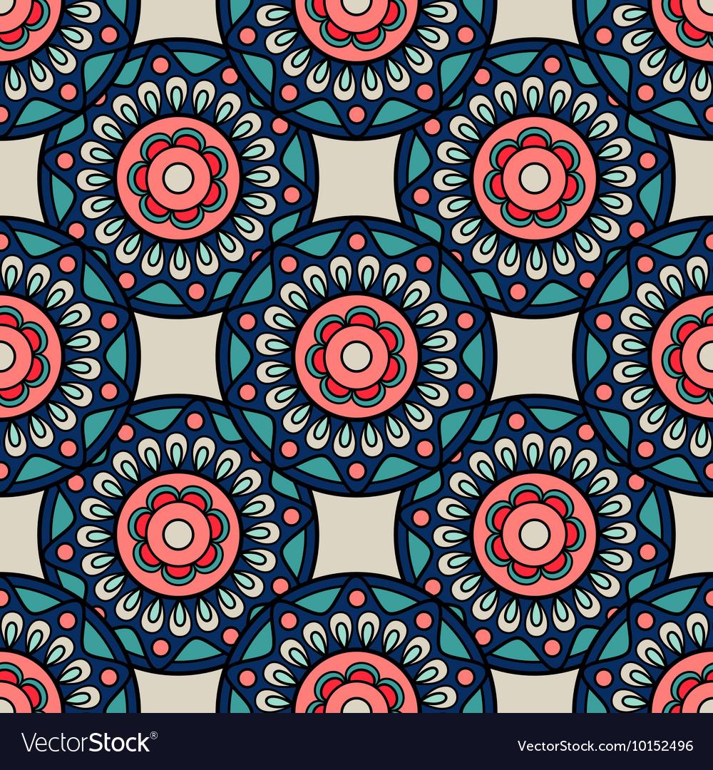 Retro colors boho hand drawn seamless background