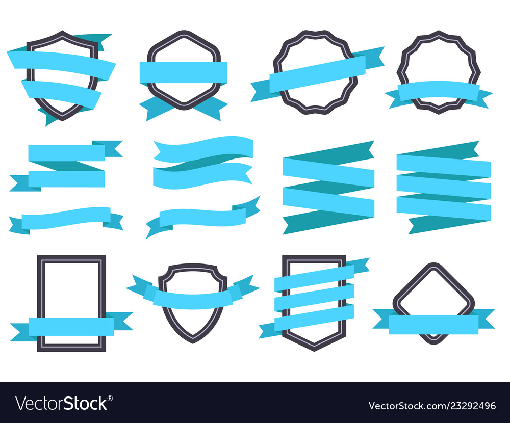 Ribbon banner frames and ribbons blue flat