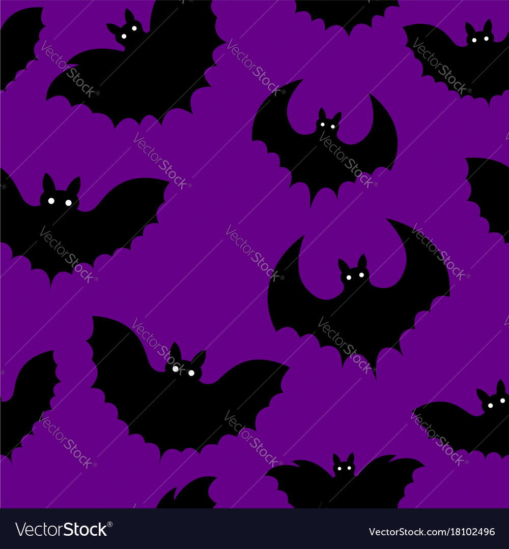 Seamless pattern of a black bat on halloween vector image