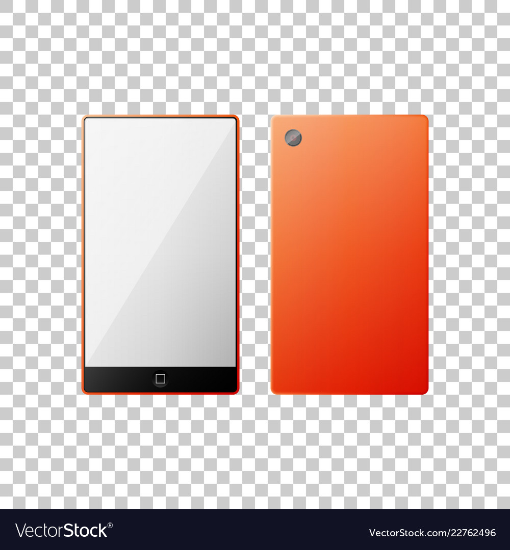 Smartphone in orange color isolated object