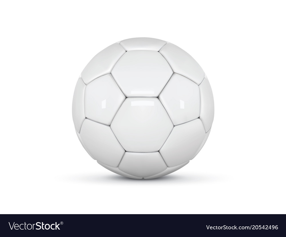 White leather ball soccer ball on white vector image