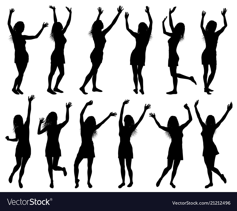 With happy women silhouettes isolated