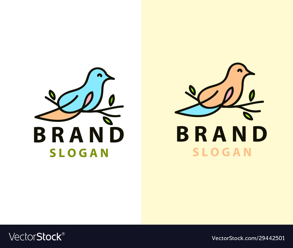 Abstract bird logo design template linear style