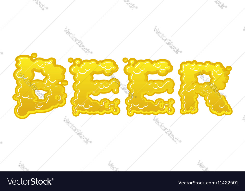 Beer text logo typography Liquid yellow letters vector image
