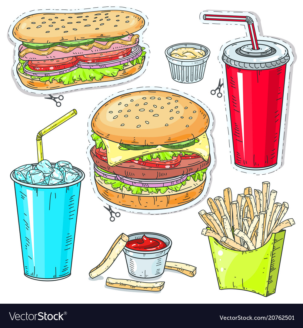 Comic style colorful icons set fast food