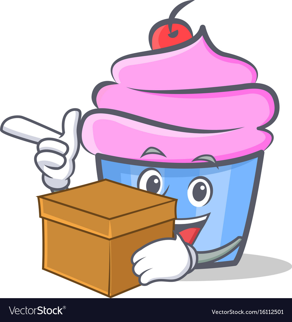Cupcake character cartoon style with box vector image