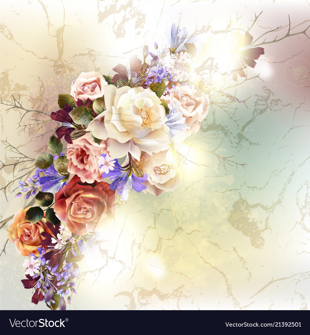 Cute roses in vintage style for design