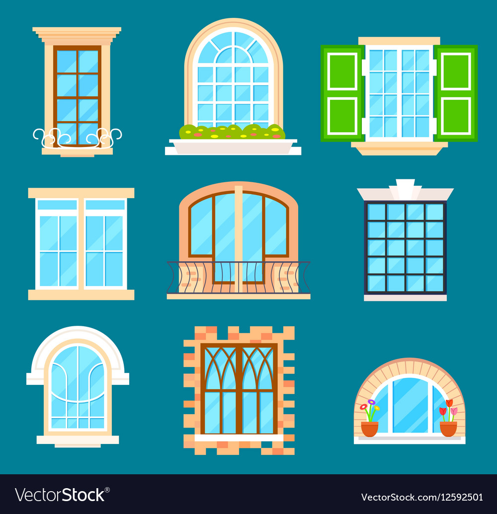 Detailed window set isolated vector image