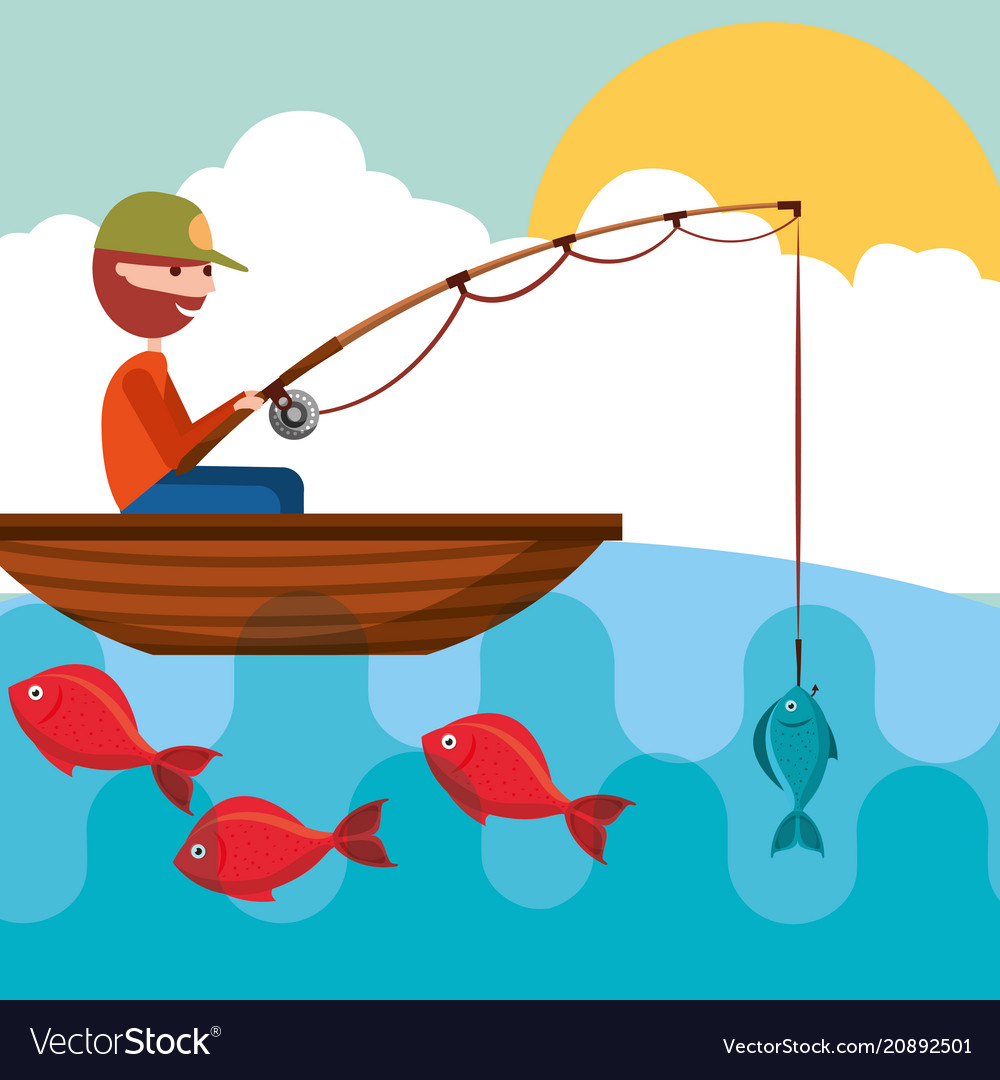 Fishing People Cartoon Royalty Free Vector Image