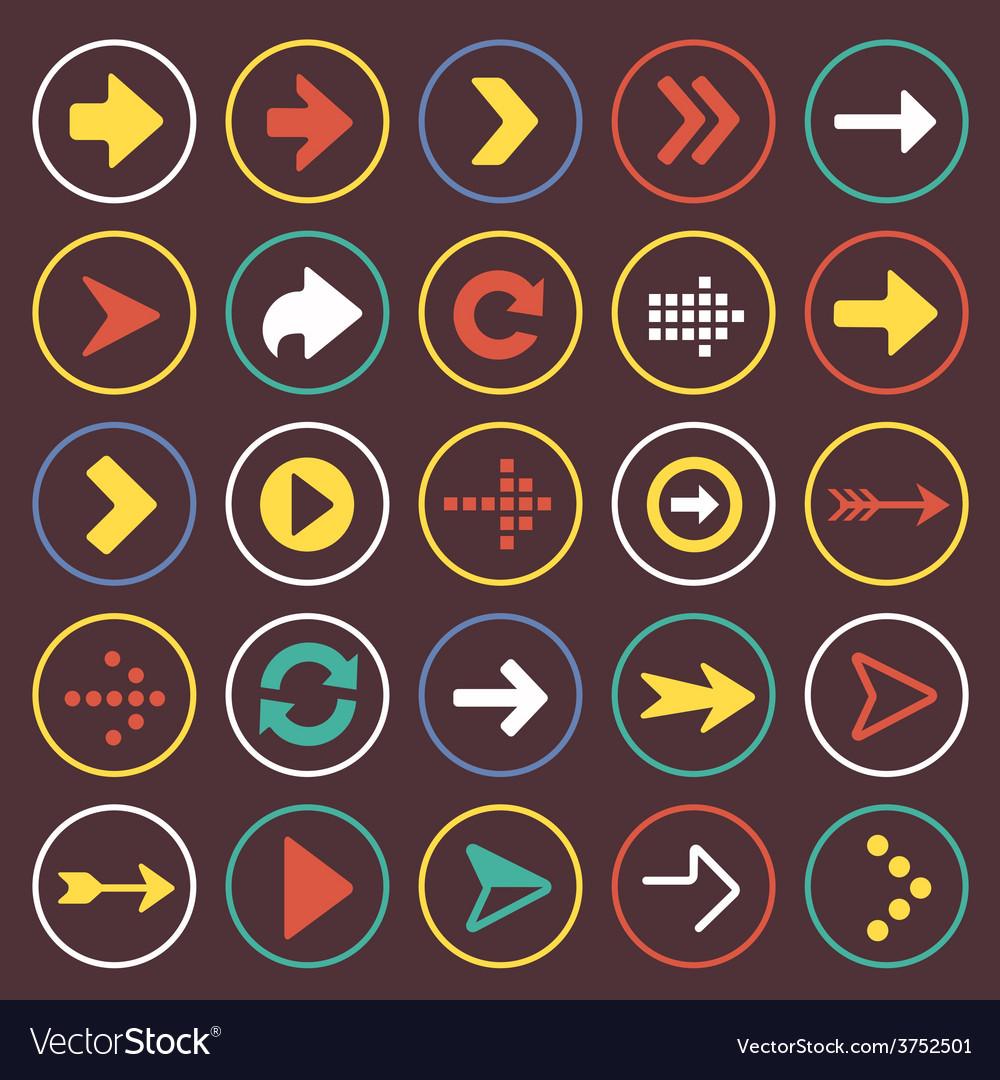 Flat arrow icons sign symbol set