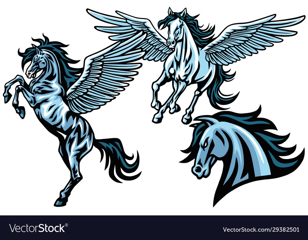 Flying pegasus horse mustang set collection