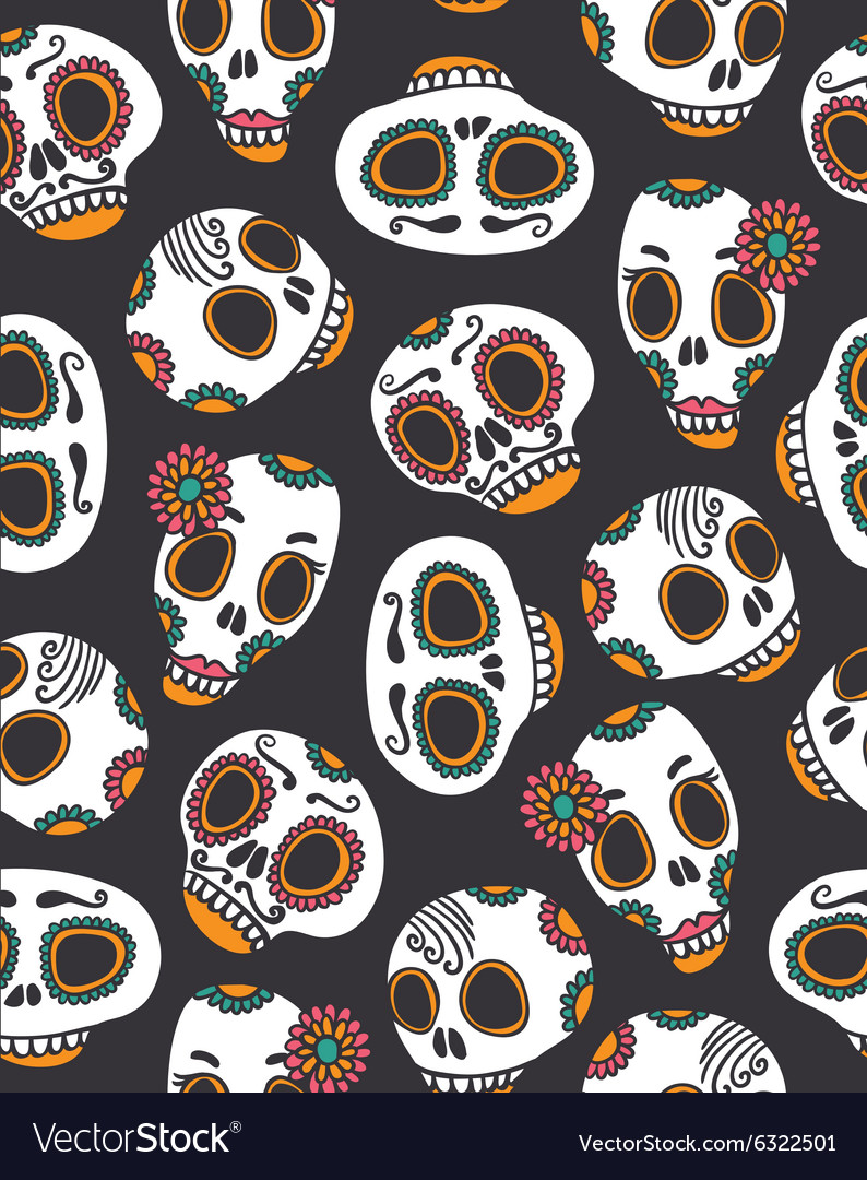 Funny seamless skull pattern for halloween and day