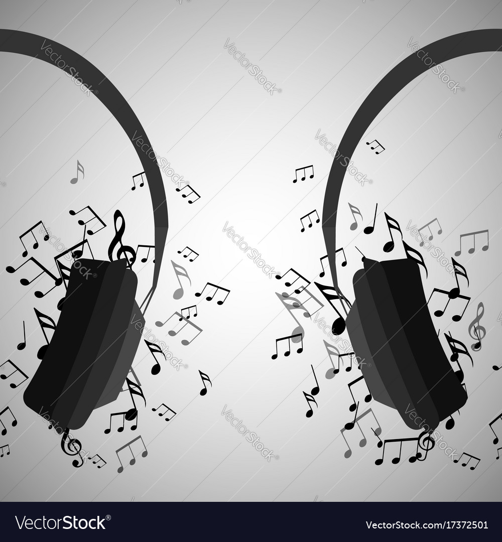 Half of headphones with musical notes