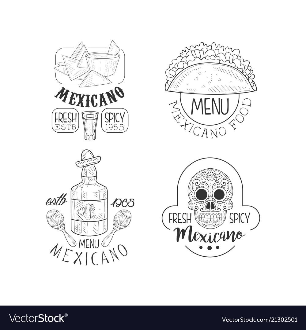 Set Of Original Logos For Mexican Restaurants Vector Image