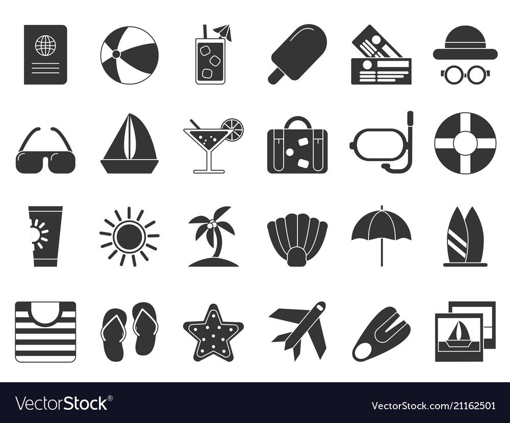 Summer time black symbols icon set isolate