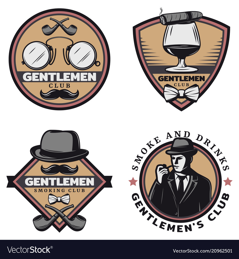 Vintage colored gentleman emblems set