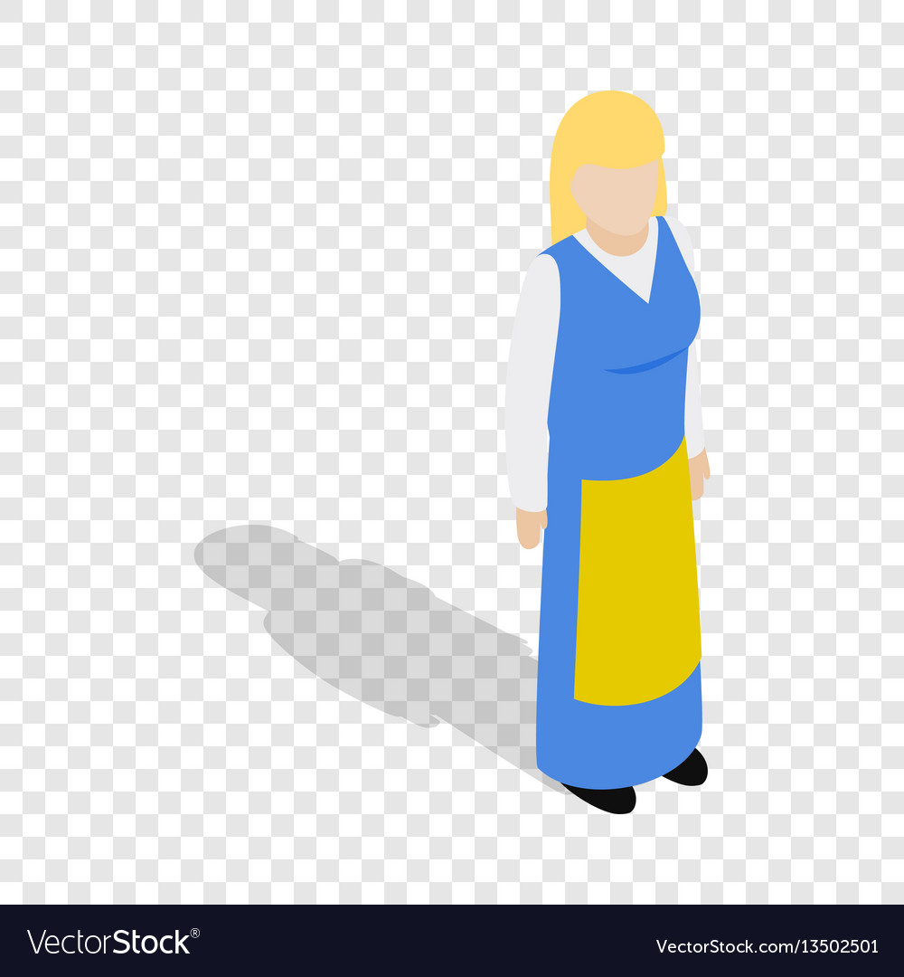 Woman wearing in traditional swedish costume icon