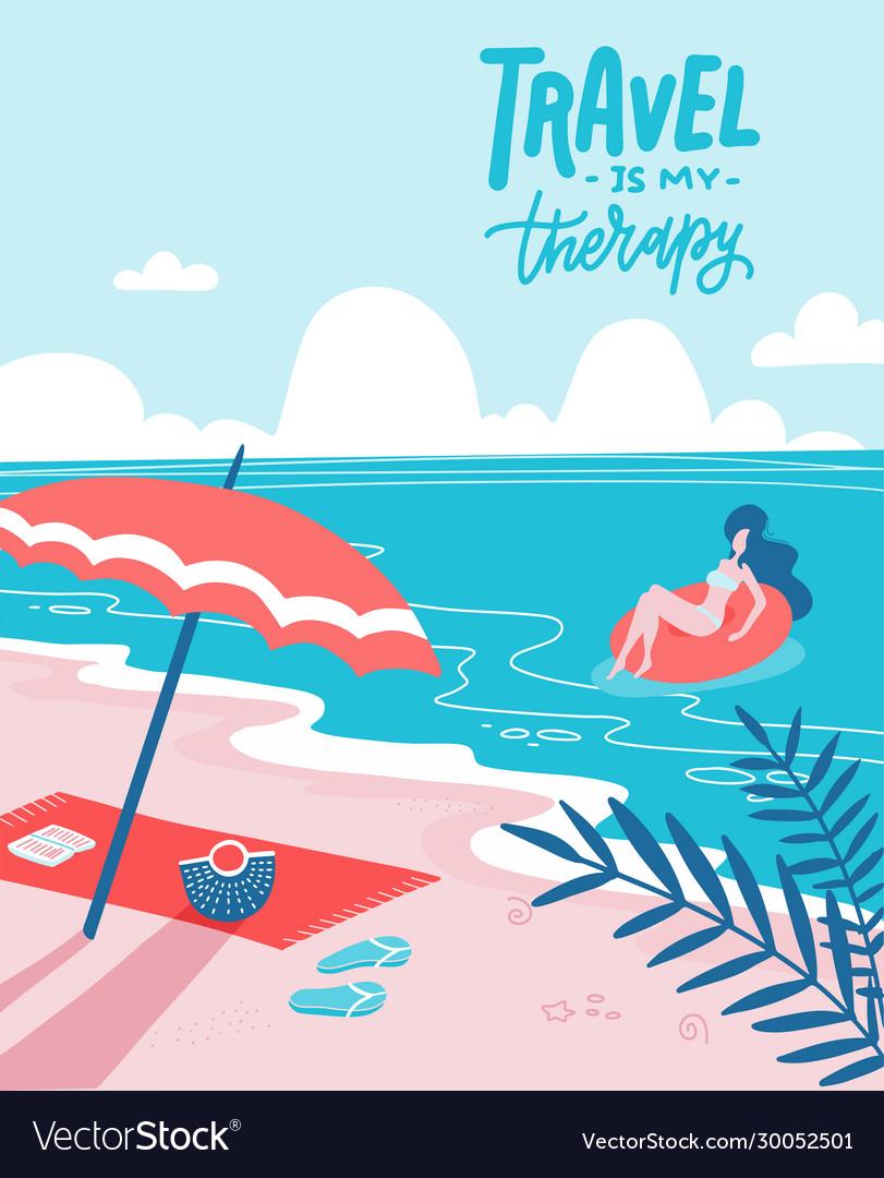 Young woman on beautiful palm beach on swim