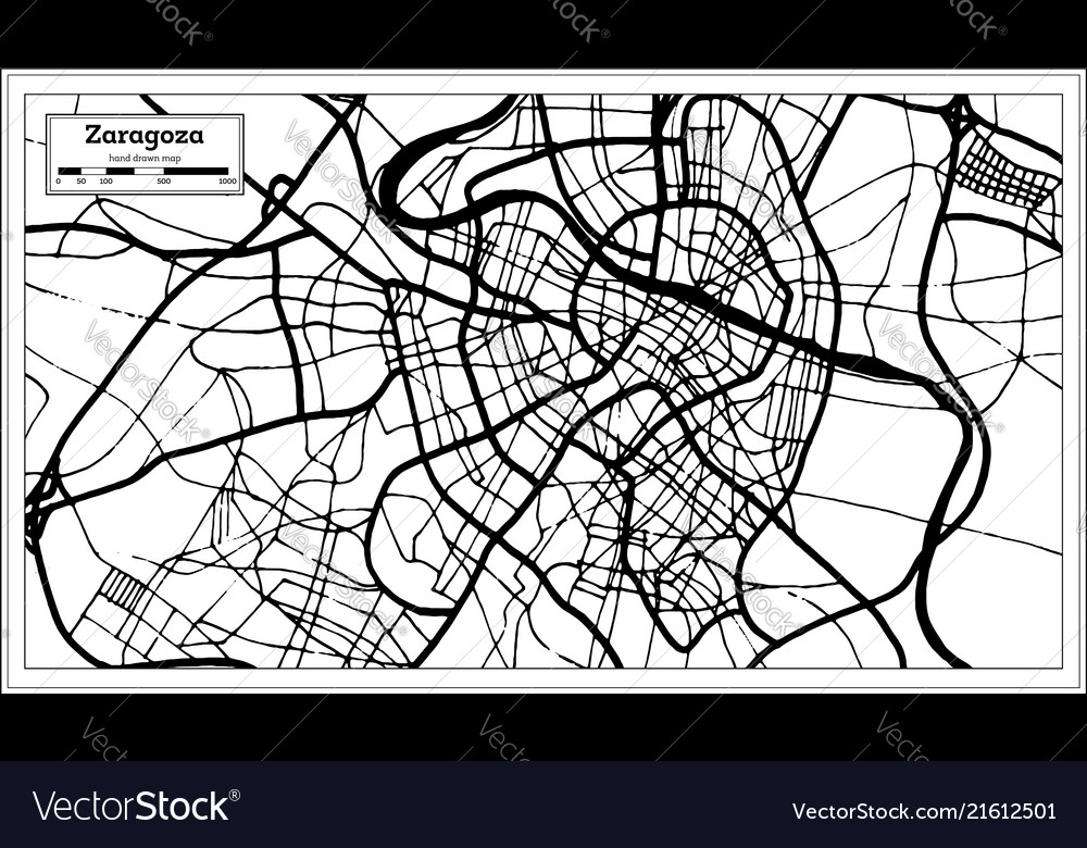 Zaragoza spain city map in retro style outline map on