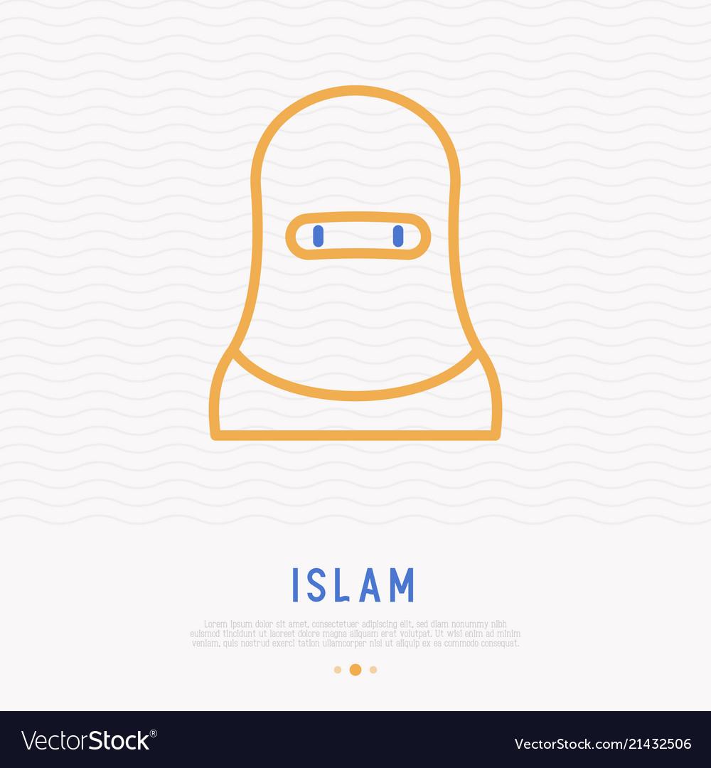 Arab woman in hijab thin line icon