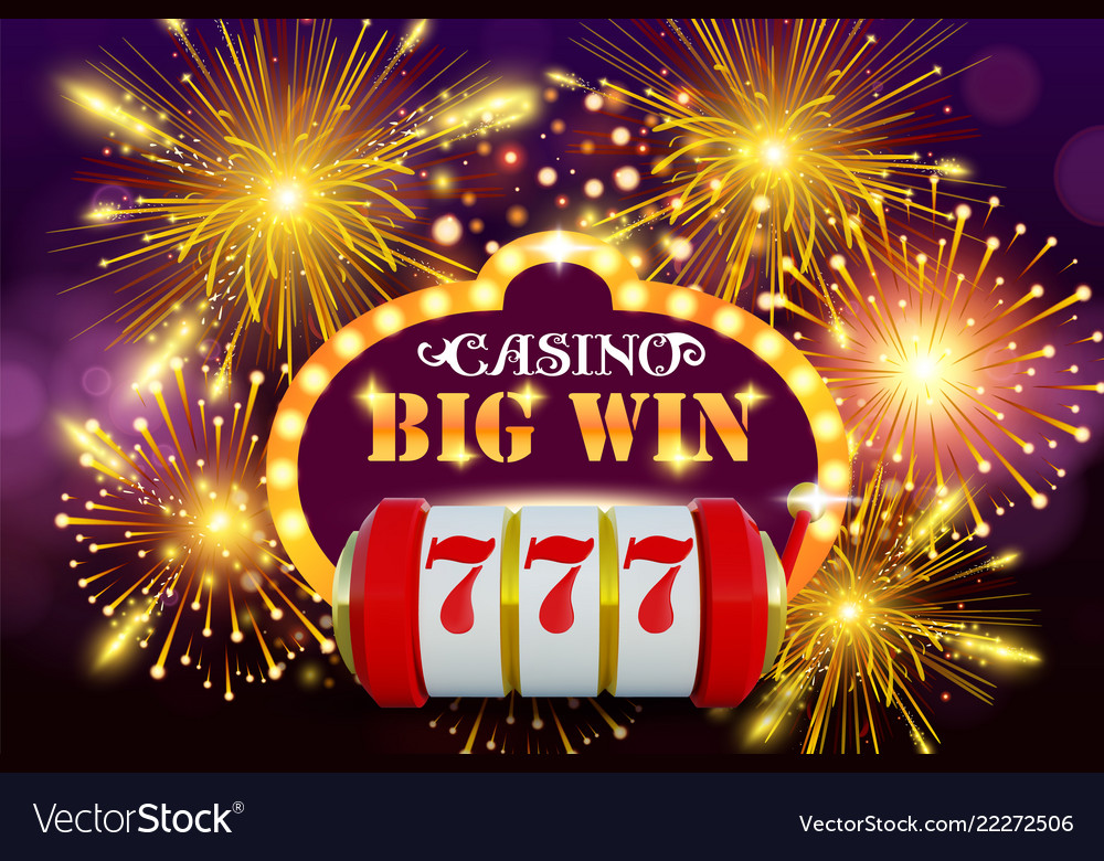 Big win 777 lottery casino concept with