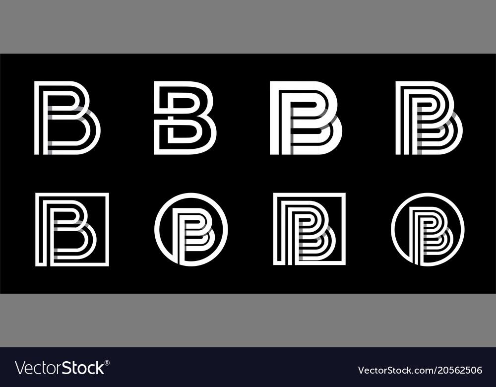 Capital letter b modern set for monograms logos