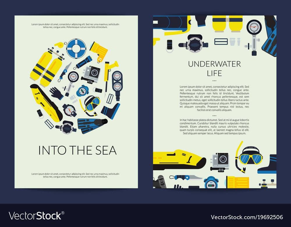 Card or brochure template for underwater