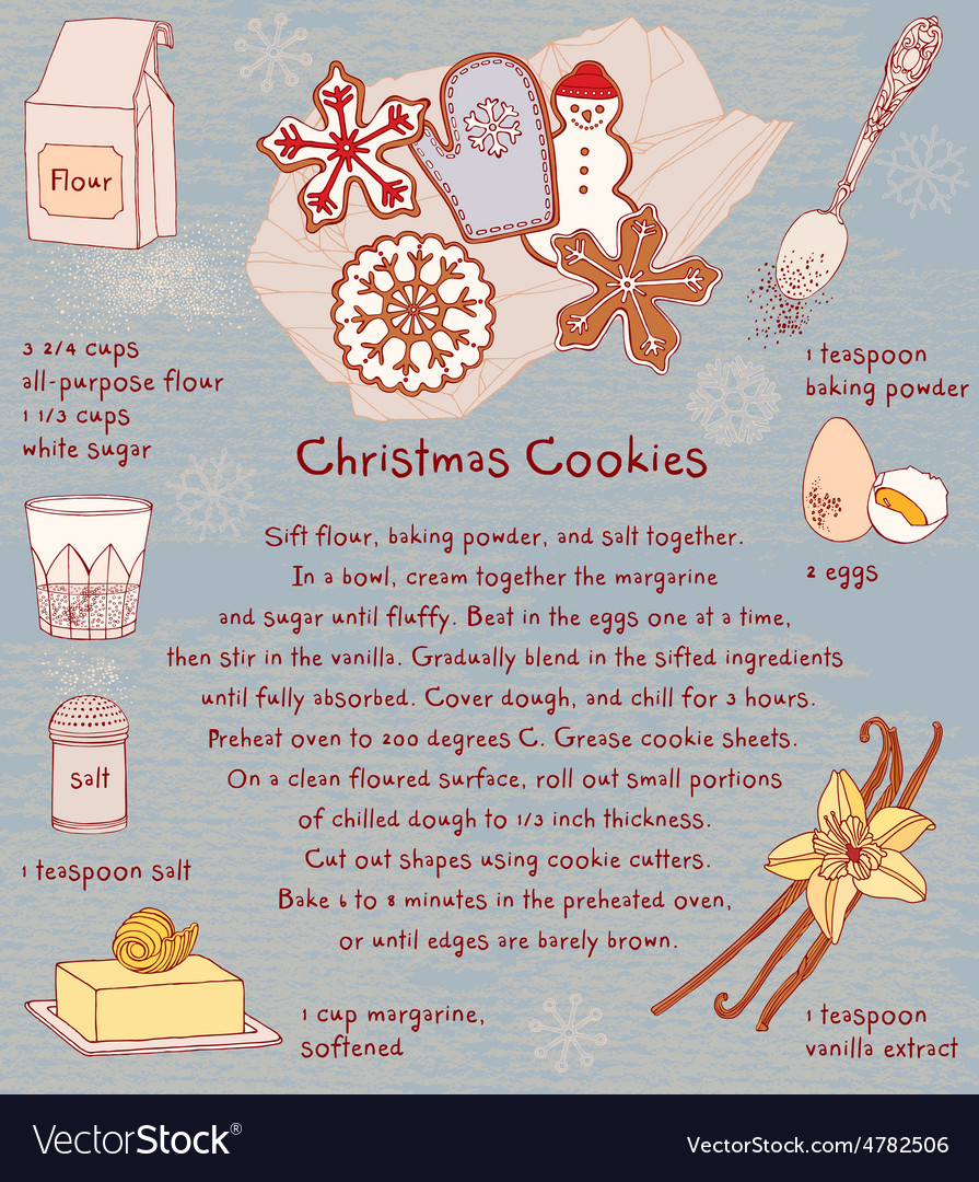 Christmas Cookies Recipe Card Royalty Free Vector Image