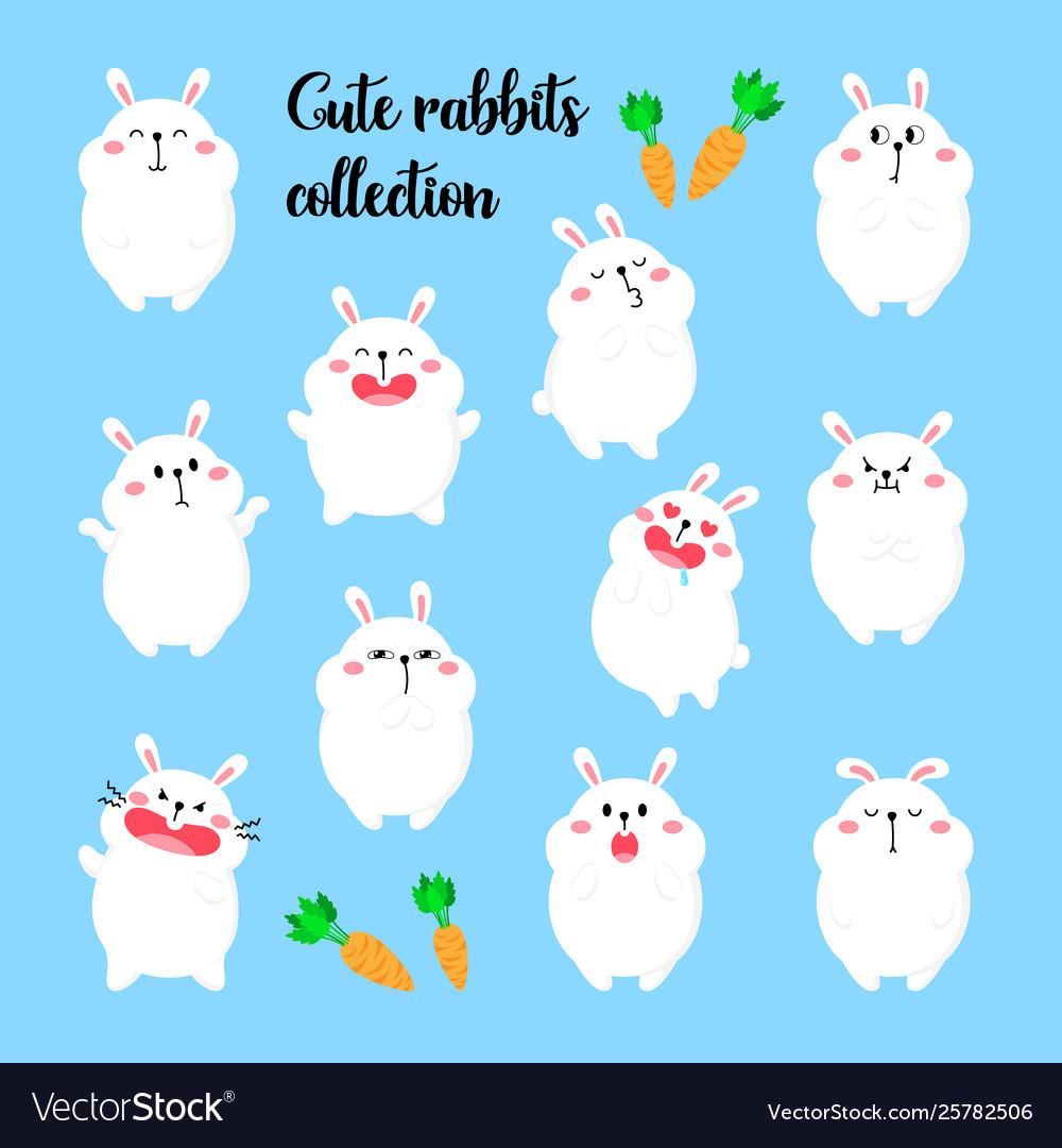 Collection cartoon rabbits funny