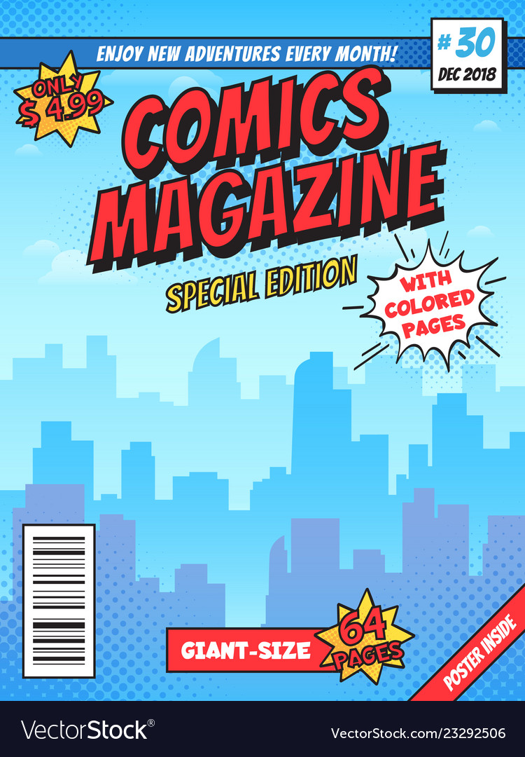 Comic book cover page city superhero empty comics