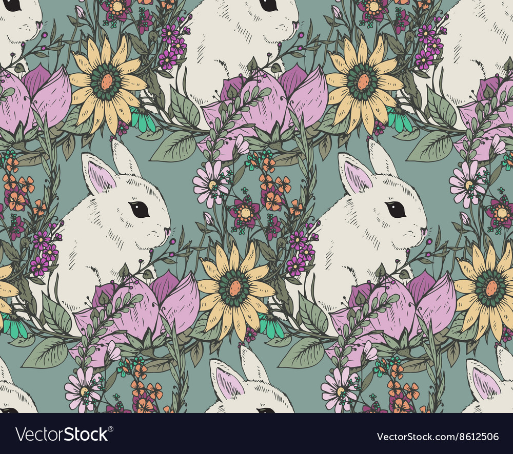 Ector floral seamless pattern with hand drawn